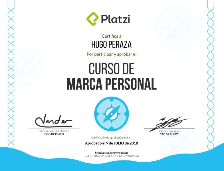 certificado diploma marca personal