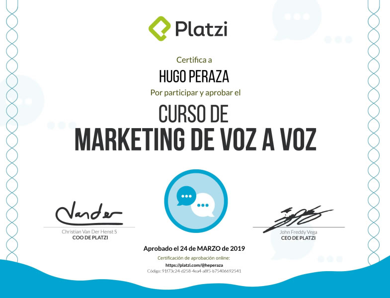 certificado marketing voz a voz