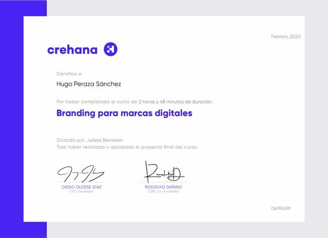 diploma certificado curso branding marcas digitales