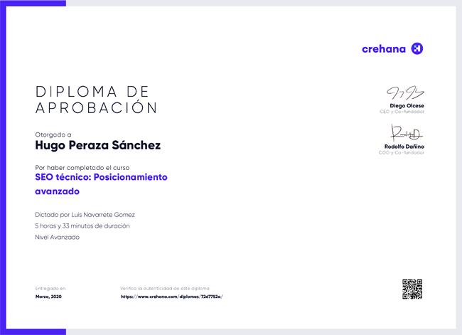 diploma certificado seo tecnico avanzado